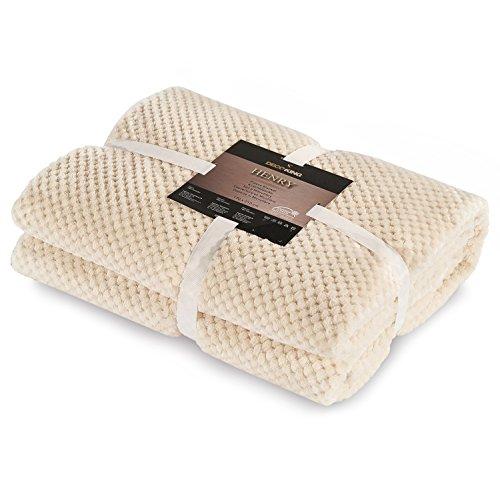 DecoKing 66140 Kuscheldecke 150x200 cm creme Decke Microfaser Mikrofaserdecke Fleecedecke Wohndecke Tagesdecke Fleece weich sanft kuschelig skandinavischer Stil ecru ivory cream Henry