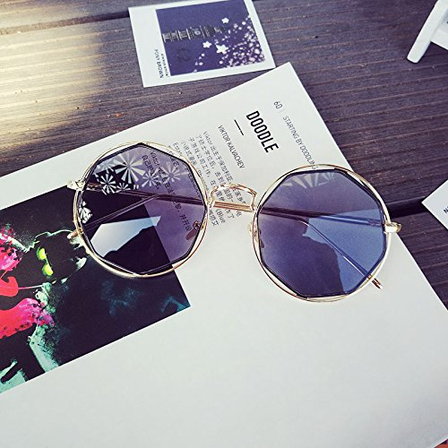 Sunyan weibliche Mode Sonnenbrille Classic Allen Alles Metrosexual hohlen Metallrahmen Sonnenbrille Wafer-, Esche Schwarz