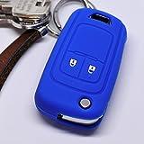 Soft Case Schutz Hülle Auto Schlüssel Opel Astra J Corsa D Adam Meriva Insignia ab 2008 Klappschlüssel Chevrolet Cruze Trax Matiz Aveo Spark / Farbe Blau