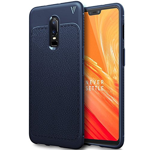 OnePlus 6 Case Cover, Protexz ANTI DROP With Screen And Camara Protection [360 Degree Protection] Premium Leather Texture Rugged Armor Shock Proof TPU Back Case Cover For One Plus 6 (2018) (Mid Blue)