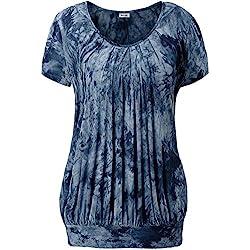 KorMei - Camiseta - Túnica - Efecto teñido - Manga corta - para mujer azul Tie Dye Blue#4 Small