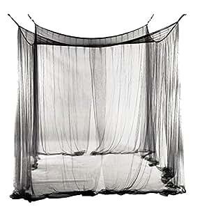 filet moustiquaire de lit baldaquin 4 coins pour lit queen king size blanc b b s. Black Bedroom Furniture Sets. Home Design Ideas