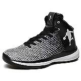 Rotok Chaussures de Basketball pour Homme Haute Technologie élastique de Choc KPU+Tissu léger Air Precision Basket-Ball - Blanc - 0821black/White, 44 EU...