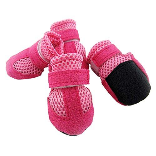 Hundeschuhe - TOOGOO(R)4 Stk. Hundeschuhe Pfotenschutz Hunde Schuhe Schutzschuhe Booties Hundestiefel rosa XL