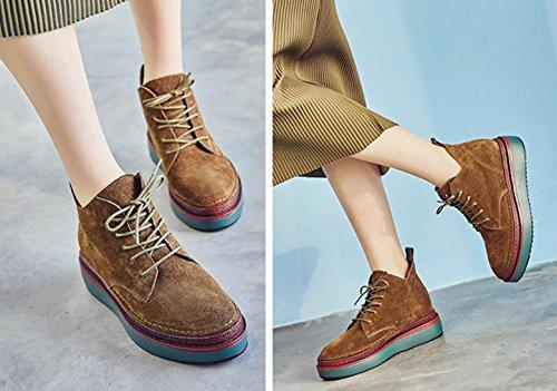 Martin stivali nuovi stivali di pelle di spessore all'interno delle stivali alti Brown