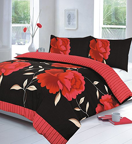 Comfy Nights Polycotton ROSALEEN Printed Beautifully Designed Duvet Cover Set (Red, King)