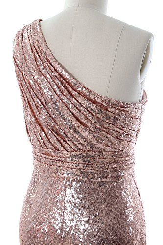 MACloth Women One Shoulder Sequin Long Prom Dress 2017 Formal Party Evening Gown Burgundy