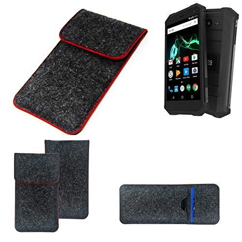 K-S-Trade® Filz Schutz Hülle Für -Archos Saphir 50X- Schutzhülle Filztasche Pouch Tasche Case Sleeve Handyhülle Filzhülle Dunkelgrau Roter Rand