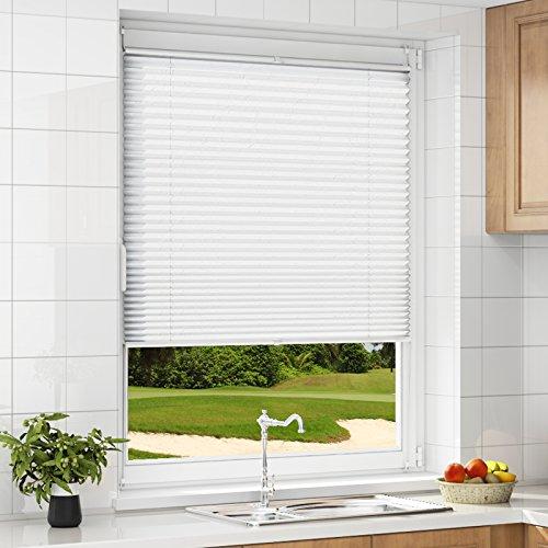 HOMEDEMO Plissee ohne Bohren Weiß 90x130 cm Plisseerollo Jalousie für Fenster und Tür Sichtschutz und Sonnenschutz Raffrollo für Kinderzimmer