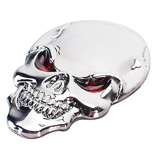 Eizur 3D Auto-Aufkleber Schädel Zink Legierung Metall Auto Motorrad Aufkleber Skelett Knochen Emblem Badge Car Styling Zubehör Größe 3.4*5cm--Silber (Orange-streifen-polo)