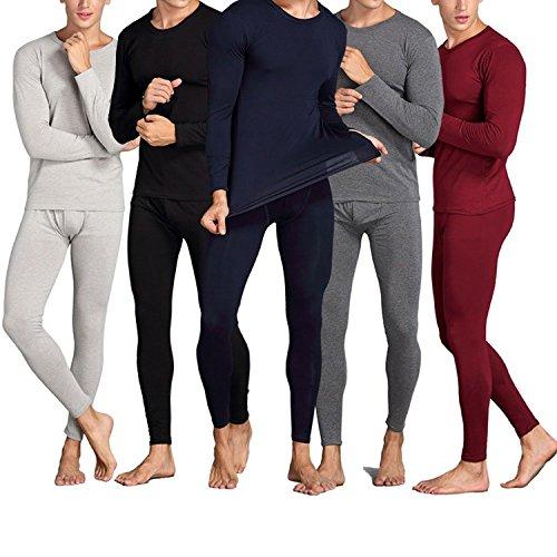 Linyuan Mens Thermal Underwear Sets Lined Shirt/Pants 2pcs Soft Cotton Sets Black