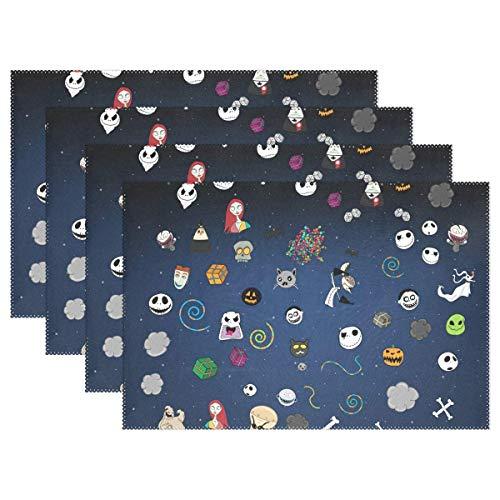 dige Tischsets, Halloween-Muster, waschbar, Polyester, Rutschfest, waschbar, Platzsets für Küche und Esszimmer, 4 Stück ()