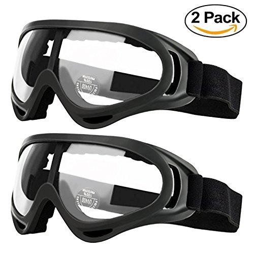 2er Pack Kinder Motorrad Schutzbrille Clear Goggles, Staubschutzbrille Dirt Bike Goggles Grip für Helm, Schutzbrille Anti UV Windproof Staubdicht Anti Fog Gläser