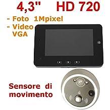 """Mirilla 4,3"""" HD 1MPixel con sensor de movimiento, visión nocturna digital Silver (321) colores"""