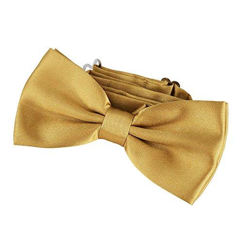 DonDon Edle messingfarbene Fliege bzw. Schleife mit Haken - bereits gebunden und verstellbar Gold Bow Tie