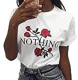LAEMILIA T-shirt Femme Col Rond Manches Courtes Tee Shirt Top Haut Imprimé Rose Fleur Casual Métro (FR44/46=Tag XL, Blanc)