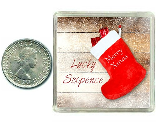 & Merry Christmas 'Happy New Year' Lucky Portafortuna 6 pence regalo tradizionale o Decoration....