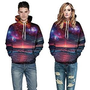 Hanomes Herren Pullover,Damen & Herren Winter Warme Hoodie Mode 3D Drucken Pullover Casual Sweatshirt mit Kapuze Kordel Tops