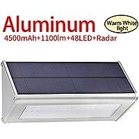 Licwshi 1100 lúmenes La luz solar 48 LED de una aleación de aluminio, impermeable al aire libre, radar de sensores de movimiento, aplicable en el porche, el jardín, el patio- la cálida luz blanca