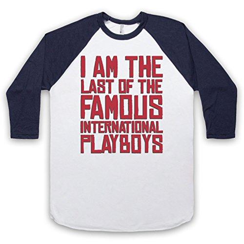 Inspiriert durch Morrissey Last Of The Famous International Playboys Unofficial 3/4 Hulse Retro Baseball T-Shirt Weis & Ultramarinblau