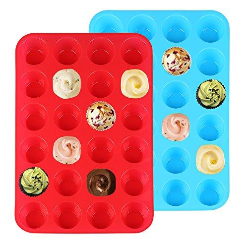 Ballery Mini Muffin, Silikon 24er Mini-Muffinform, Nonstick Küche Backblech Formen für Kuchen, Pudding, Muffinform (blau und rot)