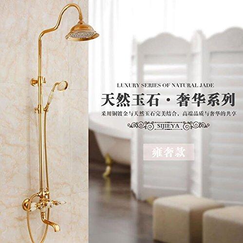 Luxus NEW JADE & Messing Regendusche Set Wasserhahn + Wannenmischbatterie + Handbrause Wandmontage FES-5776, gold