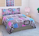 #6: Loomsense Galace Cotton 120TC 3D 5D Printed Double Bedsheet With Two Pillow Cover (90X100)Inches,multicolour Digital print