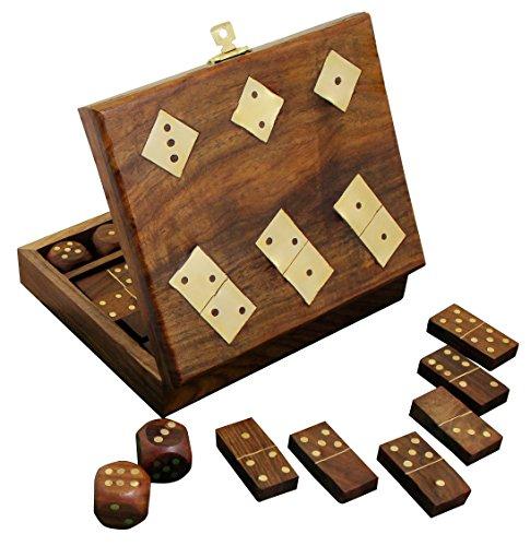 Domino in legno fatti a mano e cinque dadi impostato nella casella di stoccaggio gioco - regalo unico set - 17.8 x 12.7 x 5.6 cm