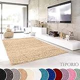 Teporio Shaggy-Teppich | Flauschiger Hochflor fürs Wohnzimmer, Schlafzimmer oder Kinderzimmer | einfarbig, schadstoffgeprüft, allergikergeeignet (Beige - 250 cm rund)