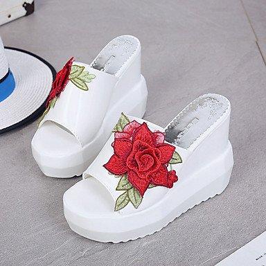 LvYuan Da donna Sandali Comoda Gomma Estate Footing Comoda Zeppa Bianco Nero Meno di 2,5 cm White