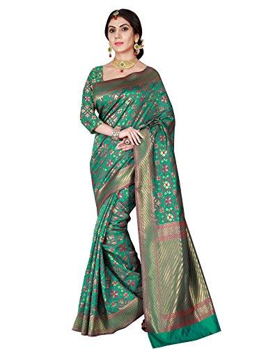 Viva N Diva Women's Patola Silk Green Saree