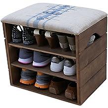 SCARPIERA di LEGNO (Noce Marrone), con SEDUTA Imbottita e Foderata con Tessuto di Tela. Utile per riporre e ordinare le calzature: scarpe, pantofole, sandali, scarpe sportive... - LIZA - 51 x 47 x 35 cm