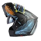 Qianliuk Moto Moto Autunno Inverno metà caSchi Flip up Doppia Lente Moto Bici Sicurezza Tappi Anti-Nebbia Motocross Casco Adulto