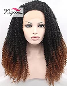K'ryssma Kinky Curly Cheveux Perruque Ombre Black to Brown Synthetic Hair Lace Front Wig for Women Heat Safe Half Hand Tied 22 inches