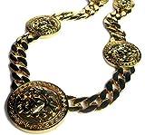 Herren XL 5 Medusa Kopf Miami kubanischen Gliederkette Vergoldet 14K überzogen HipHop Bling Kette