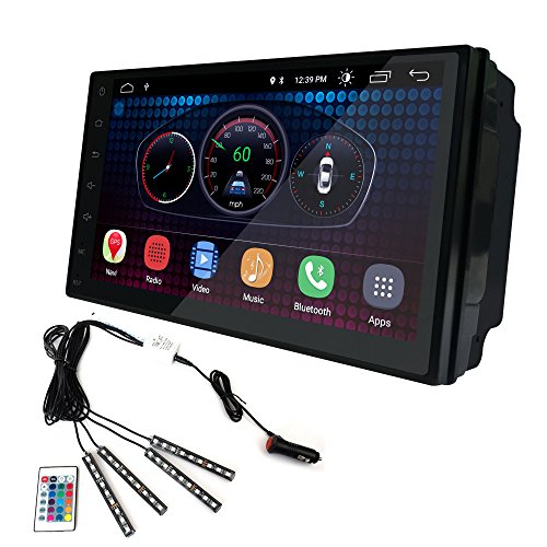 droid 6.0 Car Stereo 1GB 16GB Head Unit Double Din Touch Screen Radio Bluetooth WiFi GPS Navigation + LED Mood Light ()