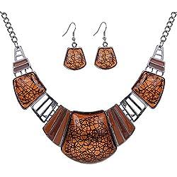 YAZILIND vendimiae Collar étnico tibetano de la astilla de Brown de la turquesa Pendientes Collar babero de la joyería