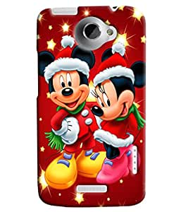 Blue Throat Micky And Mini Mouse Hard Plastic Printed Back Cover/Case For HTC One X