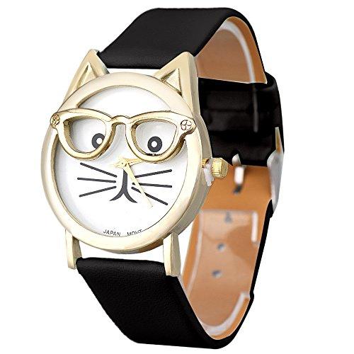 Juliyues Uhren Frauen,Damen Nette Gläser Katze Analog Quarz Armbanuhr mit Lederarmband Uhren Geschäftsuhr Armbanduhren (Für Teenager-jungen Uhren Timex)