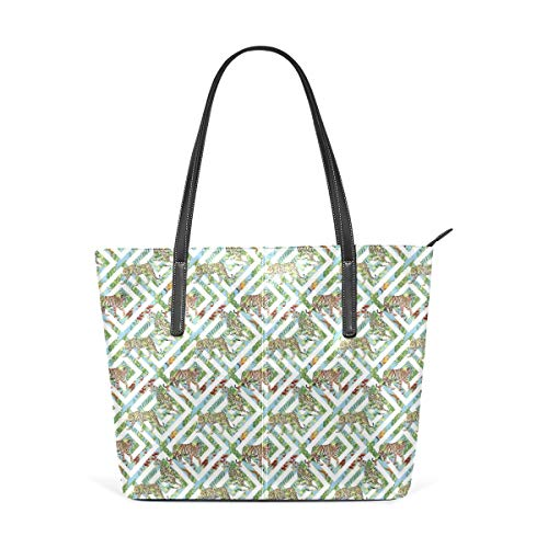 xcvgcxcbaoabo Mode Handtaschen Einkaufstasche Top Griff Umhängetaschen Tropical Leaves Panther Tiger Geometry Women's PU Leather Tote Shoulder Bags Handbags Casual Bag