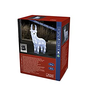 "Konstsmide 6139-203 LED Acrylic Figure""Reindeer"" / Outdoor (IP44) or Indoor Use/Battery operated: 4xAA 1.5V (excl.) / 6h timer / 32 Ice White Diodes/Transparent Cable"