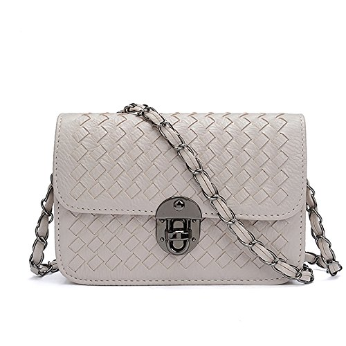 GREAT R-Femmina catena baodan borsa tracolla messenger bag tessuti a mano pacchetto blocco preparato piccoli sacchetti di partito,Small bianco cremoso
