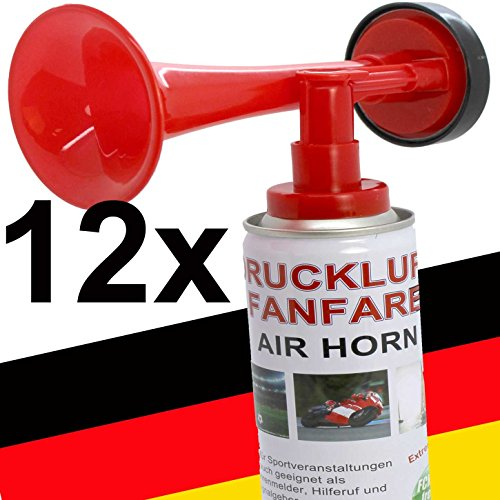 12 x Fanfare Druckluftfanfaren Gashupe Hupe Tröte Signal Stadion-fähige Hupe Air Horn - Trend-Time ® - Versand als DHL Paket