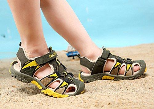 Juleya Sommer Strand Geschlossene Sandalen Klettverschluss Outdoor Wanderschuhe Ultraleicht Breathable Schuhe Flach Unisex Kinder Jungen Mädchen Arm Grün