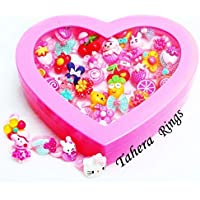 Tahera® Kids Girls Cartoon Pretend Play Toy Fancy 36 finger rings for birthday gifts comes in pink heart shape box…
