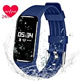 Cardiofrequenzimetro Tracking Watch, Qimaoo IP68 impermeabile sport Bluetooth Smart Watch Sleep monitor, pedometro, consumo di calorie, salute fitness tracker sincronizza iPhone o Android braccialetto, Blue