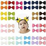 Lot de 20 nœuds barrettes à cheveux en gros-grain pour tout-petits, jeunes filles et adolescente
