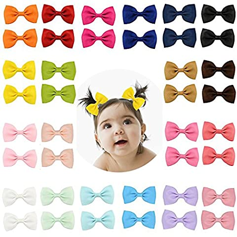 40pcs Boutique Baby Girl Hair Clips Flower Grosgrain Ribbon Bows for Toddlers Teens Kids Little Girls Barrettes 20 in