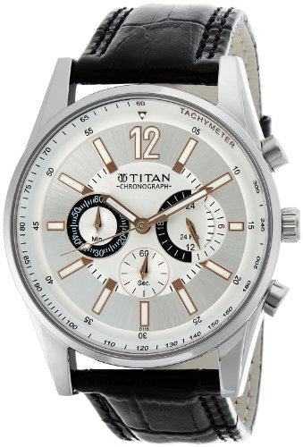 titan classique chronograph silver dial men's watch - ne9322sl01a Titan Classique Chronograph Silver Dial Men's Watch – NE9322SL01A 51xueQ2uQ2L