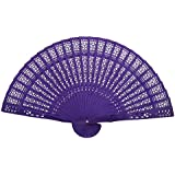 ULTNICE Hand Held Bamboo Silk Folding Fans Chinese Carved Wood Fan Portable Hand Fan Dancing Props Church Wedding Gift Party Favors(Purple)